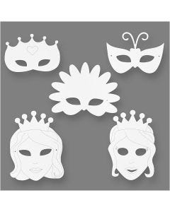 Eventyrmasker, H: 13,5-25 cm, B: 17-25 cm, 230 g, hvid, 16 stk./ 1 pk.