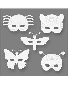 Insektmasker, H: 14-17 cm, B: 19,5-23 cm, 230 g, hvid, 16 stk./ 1 pk.