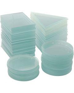 Glasplader, 3 forskellige former, 36 stk., 36 stk./ 1 pk.
