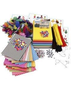 Stor kreapakke med materialer og skabeloner, ass. farver, 1 sæt
