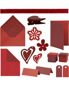 Happy Moments - Kortfremstilling, rød, vinrød, rød/vinrød, vinrød/rød, 160 enh./ 1 pk.