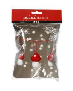 Kreativt minikit, paddehatte på snor, H: 5.5 cm, 3 stk./ 1 sæt