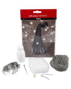Kreativt minikit, Næsenisse, H: 13 cm, grå melange, 1 stk./ 1 sæt