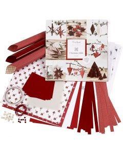 Flette- og foldesæt, rød, hvid, 1 sæt