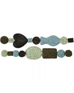 Luksus Perleharmoni, diam. 6-37 mm, hulstr. 2 mm, blå/grøn harmoni, 1 sæt