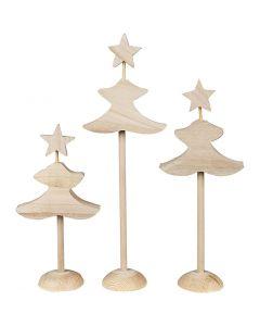 Juletræer, H: 26 cm, 3x2 stk./ 1 pk.