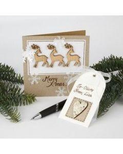 Julekort med rensdyr af træ