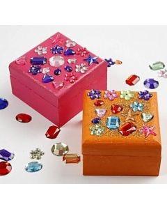 Malet smykkeskrin pyntet med glitter og rhinsten