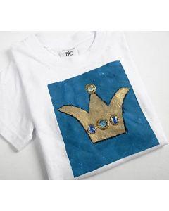 T-shirt med guldkrone og rhinsten