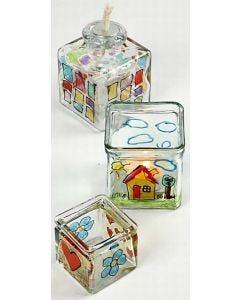 Lysglas med glas- og porcelænstusch med glitter
