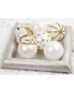 Julekugler dekoreret med løst glimmer i dobbeltklæbende folie