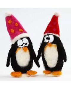 Pingviner nålefiltet på styropor ufoer