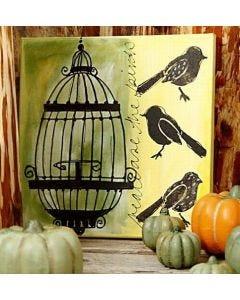 Lærred med fugle og bur