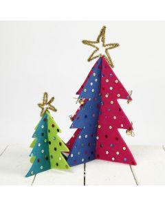 Juletræer af filt dekoreret med pailletter og chenille stjerne