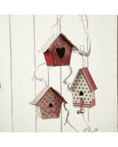 Malede fuglehuse i miniformat med decoupagepapir