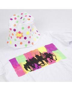 T-shirt, dekoreret med Neon tekstilmaling