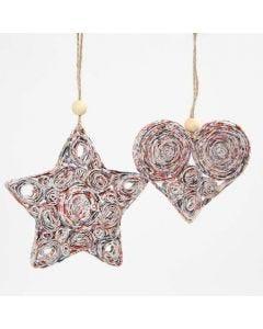 Juleophæng af quilling med stjernestrimler