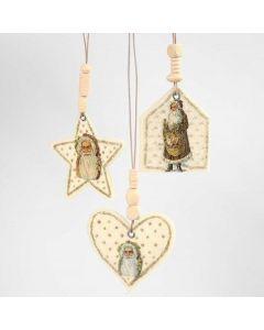 Filtfigursophæng med glansbillede, guldglitter og perler