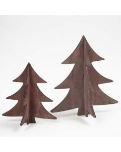 Malede 3D-juletræer i træ