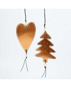 Ophæng julehjerte og juletræ i formfolie i kobber