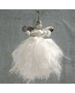 Engel af trådstænger og silkegarn