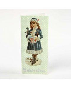 Dobbeltkort med decoupagepapir og glansbillede