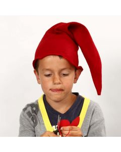 Nissehue, syet i rød filt