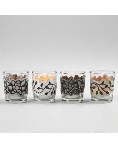 Lysglas med udstanset, præget og trykt bort i papir