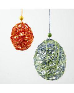 Påskeæg af papirgarn formet om ballon