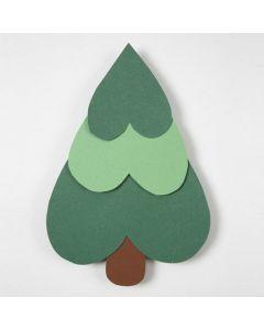 Juletræ af hjerter i karton