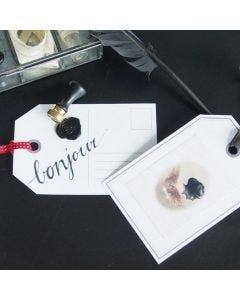 Stort gavemærke med laksegl, stickers og bånd