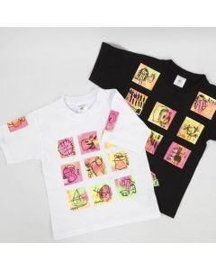 T-shirt med transfertrykte kunstværker
