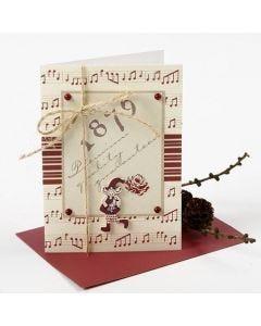 Julekort med designpapir og trænisse fra Vivi Gade