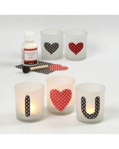 Lysglas med kærlighedsbudskab af pålimet papir