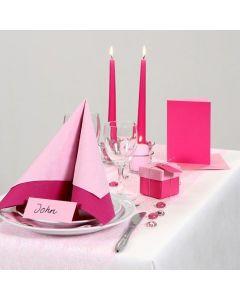 Inspiration til fest med pink og rosa borddækning, bordkort og bordpynt