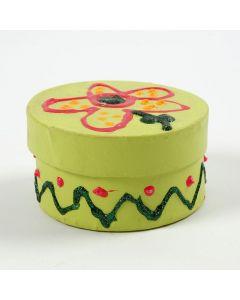 Malet rund æske med låg, dekoreret med glitter