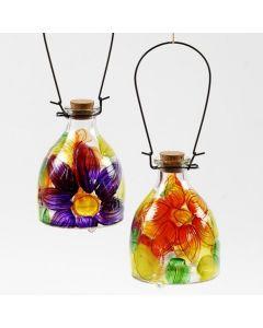 Hvepsefanger af glas med malet blomstermotiv