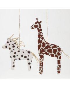 Hest og giraf af karton med pelsaftryk