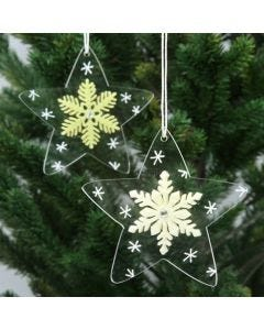 Stjerner af akryl, pyntet med krystaller af filt og tegnet grafik