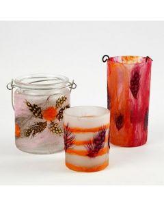 Glas til lys dekoreret med merino uld og fjer