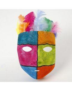 Grafik og glittermaling på maske af plast