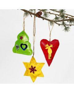 Malede juleophæng med glitter og pailletter