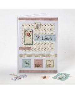 Decoupagestickers og designpapir på omslaget af hvid kinabog