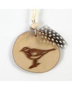Ophæng af træskive dekoreret med fugl og fjer