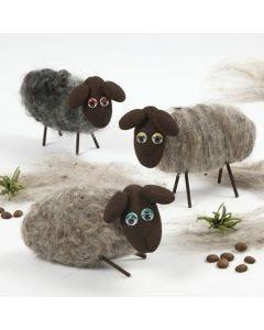 Påskelam af nålefiltet uld, Silk Clay og rulleøjne
