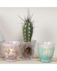 Lysglas, dekoreret med decoupagepapir i design fra Vivi Gade