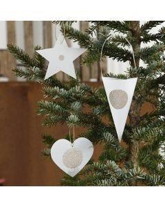 Julepynt af udstanset vellumpapir, pyntet med stickers