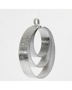 Ophæng til jul, lavet som ringe af flad alutråd i sølv