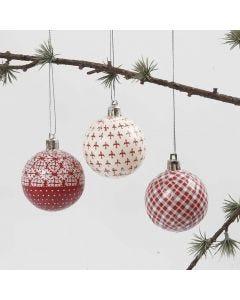 Julekugle med decoupage i rødt og hvidt
