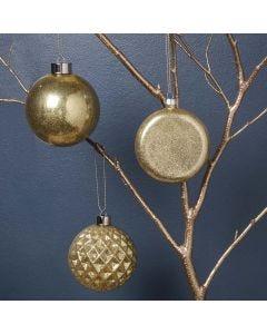 Julekugle i glas dekoreret med glimmer indeni